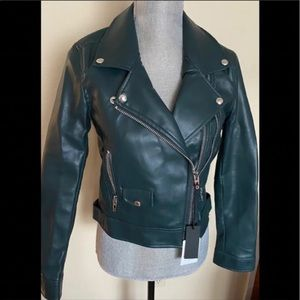 BLANK NYC faux leather moto jacket.
